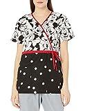 Disney Cherokee Damen Mock Wickel-Top in Minnie Muster, schwarz, Groß