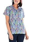 CLINIC DRESS Schlupfkasack Damen-Kasack 1/2 Arm All-Over-Print Schlupfhemd 60 Grad Wäsche himmelblau/bunt 40