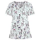 UNHU Arbeitskleidung Pflege Damen Kasack Schlupfkasack Kurzarm V-Ausschnitt Berufskleidung Lustig Animal Print Bluse T-Shirt Schlupfhemd Krankenpfleger Uniformen