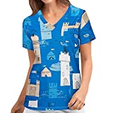 Kasack Damen Pflege Bunt mit Motiv Tierdruck Schlupfkasack mit Zwei Taschen T-Shirt Kurzarm V-Ausschnitt Schlupfhemd Berufskleidung Krankenpfleger Uniformen Nurse Halloween