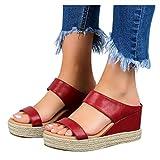 SUNNSEAN Damen Sandalen, Casual Damen Sommer Wedge Peep Toe High Heel Plattform Pantoletten Anti-Rutsch-Sandalen
