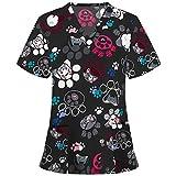 Krankenhaus Schlupfhemd Bluse Damen Animal Drucken Casual Kurzarm Tshirt V-Ausschnitt Tops Mischgewebe Kasack Arzt Uniform Berufsbekleidung Krankenschwester Kleidung