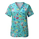BJJH Outdoor Kasack Damen Pflege Frauen Übergröße Bluse Schlupfkasack mit Lustig Animal Print Kurzarm V-Ausschnitt Schlupfhemd Berufskleidung Krankenpfleger Uniformen mit Taschen