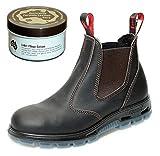 RedbacK USBOK Safety Work Boots aus Australien - mit Stahlkappe - Unisex + Lederpflege | Claret Brown | UK 8.0 / EU 42.0