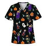 Mymyguoe Halloween Kasack Damen Pflege Bunt große größen Uniformen Schlupfkasack Berufsbekleidung Schlupfhemd Uniform mit Motiv Weihnachten Kasacks Damen Pflege Bunt