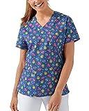 CLINIC DRESS Schlupfkasack Damen-Kasack 1/2 Arm All-Over-Print Schlupfhemd 60 Grad Wäsche blau/bunt 42