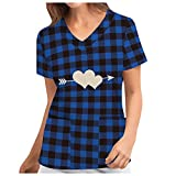Pflege Kasack Damen Bunt mit Motiv Schlupfhemd V-Ausschnitt Schlupfkasack mit Taschen Kurzarm T-Shirt Pflegekleidung Uniform Krankenschwester Bedruckt Berufskleidung Tops
